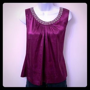 Chico's eggplant silky embellished tank